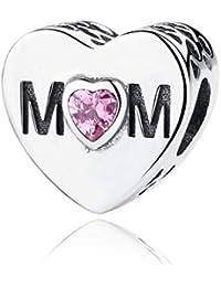 "NINGAN""I Love Mother(Le Amo a mamá)AbaloriosCharmsdePiedradeNacimientoCompatibleconPandora/EuropeasPulsera,BirthstoneCharmsPlatadeLey925con5ACirconita"