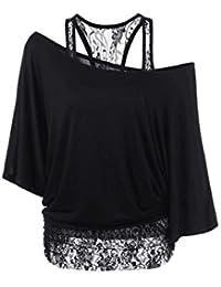 Mujeres falsificadas 2 piezas barco cuello encaje Moda blusa camiseta Top