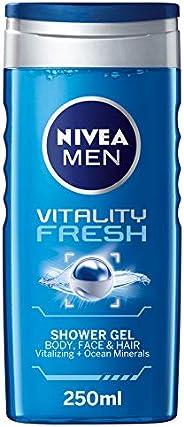 NIVEA MEN Vitality Shower Gel Gel 3in1, Masculine Scent, 250ml