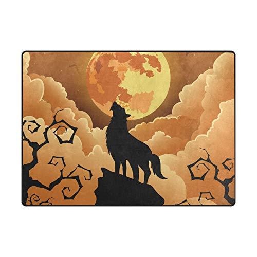AHOMY Teppich, 150 x 200 cm, Rutschfest, modern, Halloween-Wolf-Mond-Teppich, für Wohnzimmer/Baby/Haustierzimmer/Schlafzimmer/Esszimmer/Küche, Textil, Multi, 150x200 cm (5'x7' ft)