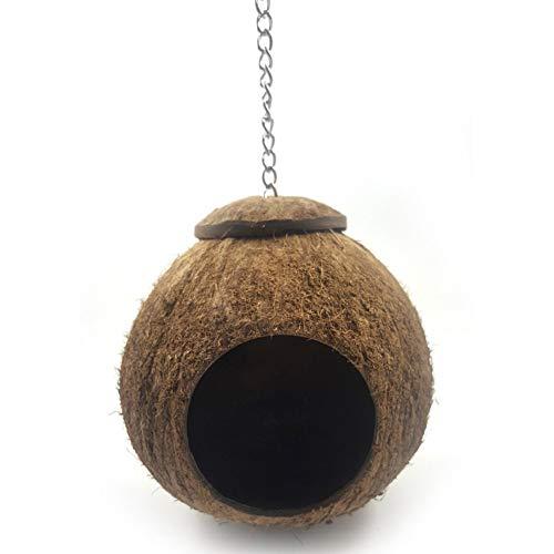 Kokos Gehäuse Vogel Nest Haus, Nestend Vogelhaus für Käfig oder außerhalb mit Hängend Schleife Natürlich für Haustier Papagei Wellensittich Sittich Nymphensittich Finken -