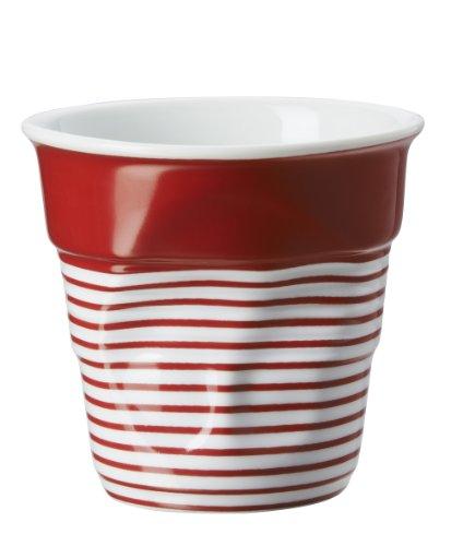Revol RV646078 Tasse Cappuccino Froissé 8, 5cm Porcelaine, Blanc/Rouge,, 8.5 x 8.5 cm