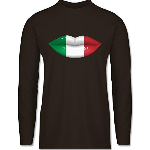 EM 2016 - Frankreich - Lippen Bodypaint Italien - Longsleeve / langärmeliges T-Shirt für Herren Braun