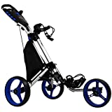tour-made RT-140 3 Roues de Golf Push Trolley Push-Trolley 3 Roues - Silber-Blau