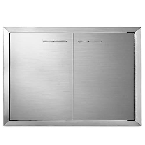 Husuper 83.8 * 55.8cm Edelstahl Doppelwandige Konstruktion Grilltür Unterputzmontage Doppeltür Tür für die Außenküche Tür für Badezimmer Smoker Putztür für BBQ