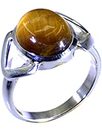 55Carat Real Tiger Eye 925 Silver Ring For Women 2 Stone Setting Oval Round Shape UK Size H-Z SZg8WkH