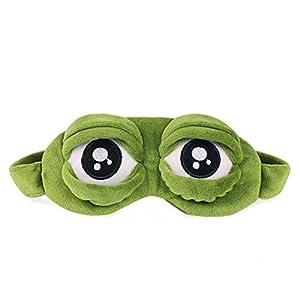 Cartoon Frosch Augenmaske,Schlafmaske Augenbinde, Flaum Cute Augenmaske,Für Reisen, Schlafen, Flugzeuge usw,Grün