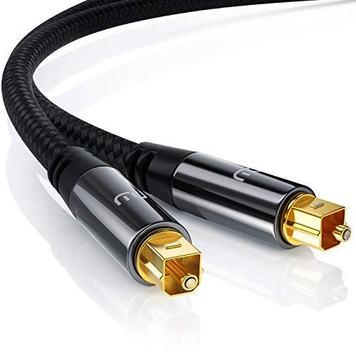 Uplink - 1m Optisches Toslink Kabel (S/PDIF Audio-Kabel) | Platinum Serie - Voll-Metallstecker / Nylonummantelt | LWL (Lichtwellenleiter) | 6mm Kabeldurchmesser | unverfälschte 1:1 Digital-Übertragung