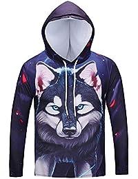 BUSIM Men's Long Sleeve Sweater Fall Winter Wolf Print Casual Slim Hooded Pullover Sweatshirt Jacket Jacket Trendy... - B07HFCGJ2F