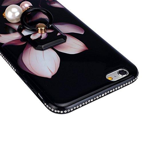 Glitter Étui Housse pour iPhone 6/6S (4.7 inch) + [Support d'Anneau], Bonice Cristal Clair Miroir Cas Case avec 360 Degrés Rotation Bague, Luxe Bling Sparkle Strass Souple Soft Gel TPU Caoutchouc Bump F - Fleur de lis