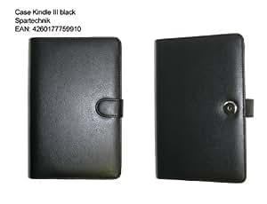 Leder Futteral Kindle 3 - schwarze elegante Ledertasche für Kindle III E-Book Reader zum Aufklappen. Tasche für AMAZON Kindle 3G - gefertigt aus Rindsleder - schwarz