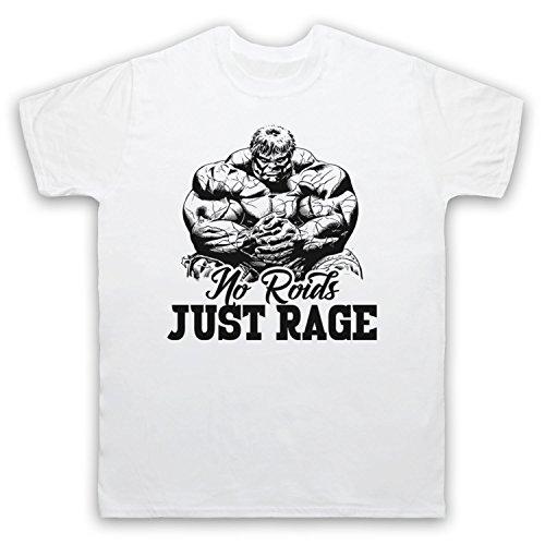 No Roids Just Rage Bodybuilding Culture Slogan Herren T-Shirt Weis