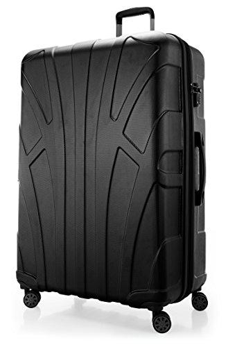 SUITLINE Extra-großer Reisekoffer Hartschalen-Koffer Trolley Rollkoffer, TSA Hand Luggage, 78 cm, 160 liters, Schwarz Samsonite Laptop Roller