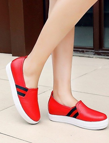 ZQ gyht Scarpe Donna - Mocassini - Tempo libero / Casual / Sportivo - Punta arrotondata - Piatto - Finta pelle - Nero / Rosso / Bianco , red-us10.5 / eu42 / uk8.5 / cn43 , red-us10.5 / eu42 / uk8.5 /  white-us10.5 / eu42 / uk8.5 / cn43
