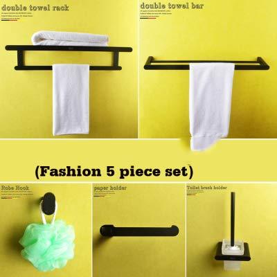 LUXYSOWERTIME Schwarz handtuchhalter Bad handtuchhalter papierhalter toilettenbürste zahnbürste Tasse seifenschale Hardware zubehör 5 Piece Set -