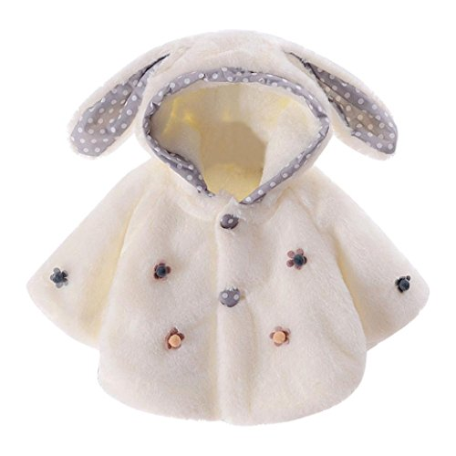 Longra Baby Mode Mädchen Winter Kapuze Jacke Mantel Kapuzenpullover Hoodie mit Kaninchen ohr Baby Winterjacke Wintermantel Warme Kleidung Outwear(0-24Monate) (90CM 18Monate, White) (Kapuzenjacke Gemütliche)