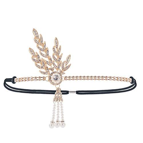 1920S Stirnband Kopfschmuck 20er Jahre Damen Haarband Blatt-Medaillon Rundes Stirnband mit Perlen...