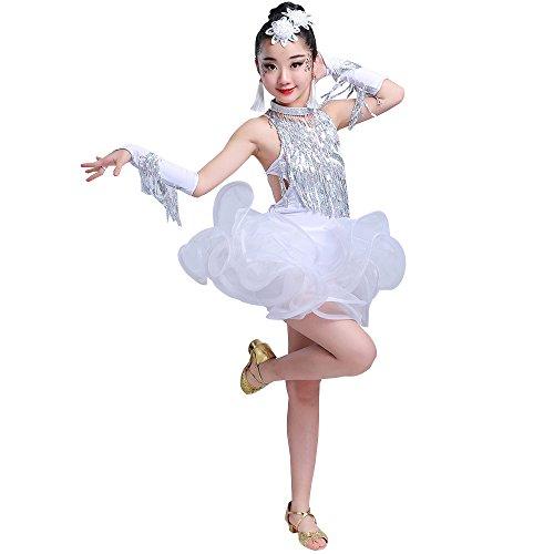 illetten Latin Tänze Examen Contest Leistung Kostüm Ballroom Dance, Weiß, EU 130=Tag140CM (Süßes Paar Ideen Kostüme)