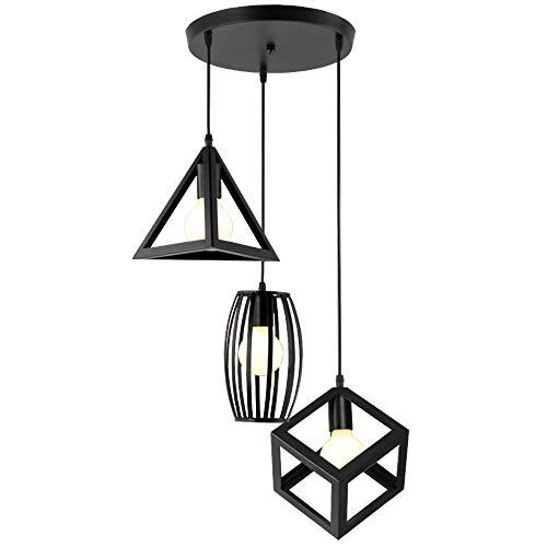 LSLVKEN 3 Lichter Pendelleuchten geometrisches Design Moderne E27 Kronleuchter Anhänger Metall Lampenschirm Deckenleuchte für Schlafzimmer Wohnzimmer - schwarz -