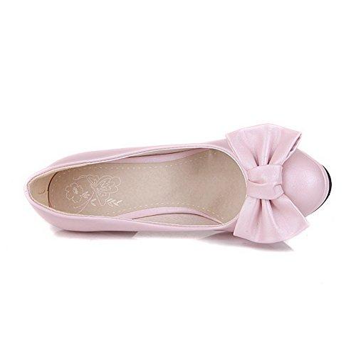 Redondo Com Salto Rosa Puros Sapatos Arco Alto Bico Puxar Senhoras Voguezone009 De Couro Bombas Pu De OaqURtw