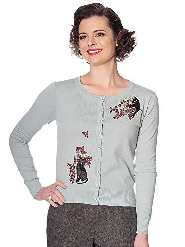 Banned Retro Damen Strickjacke Black Cat Bloom Embroidery Cardigan CA21032 (XL, Blue) - Cat Cardigan