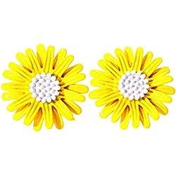 Ogquaton Daisy Flower Earrings Vintage Cute Floral Earrings Small Stud Earrings Gift, Yellow Ear Clip Durable y útil