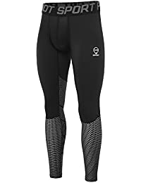 AMZSPORT Leggings Compression da Uomo Sport Baselayer Asciugatura Rapida Pantaloni ALL-SEASON Argento M
