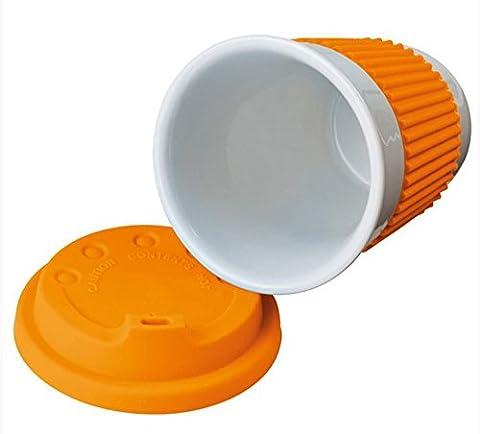 Trinkbecher / Kaffeebecher to go - Porzellan - Silikondeckel und Ummantelung in verschiedenen Farben (orange)