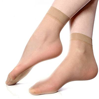 Samkit Women's Ultra-Thin Transparent Nylon Ankle Length Socks (Beige, Free Size) - Set of 10