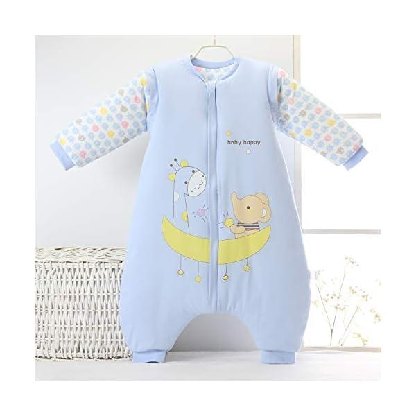 Saco de dormir para bebé con piernas forrado cálido de invierno, manga larga, saco de dormir de invierno con pies, para niñas, unisex, mono azul Balu/3.5 Tog Verdickt Talla:M/Koerpergroesse 75-85cm