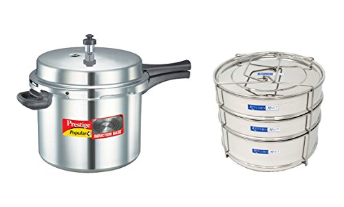 Prestige Popular Plus Induction Base Aluminium Pressure Cooker, 10 Litres, with Kitchen Mart Cooker Container  available at amazon for Rs.3975