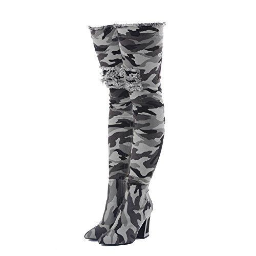 Metall-heel Stiefel (Onlymaker Camouflage Damen Langschaft Blockabsatz Stiefel Hellgrün EU41)