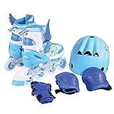 Inliner Kinder Ponny 2 in 1 blau mit Schutzausrüstung, Größe S 30-33 verstellbar