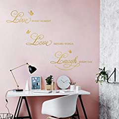 Idea Regalo - decalmile Adesivo Murali Frase Scritte Live Every Moment, Laugh Every Day, Love Beyond Words Adesivi da Parete Oro Farfalla Decorazione Murale Camera da Letto Soggiorno Ufficio
