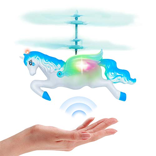 Flying Unicorn Drone Toys Regalos para niñas Edad 6 7 8 9-14 años, Mini Control de Mano Flying Helicopter Unicorn Fairy Doll Toys (Azul)