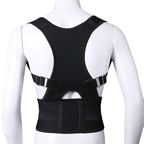 Foto de Freebily Chaleco Corrector de Postura Hombros Espalda para Hombre Mujer Ajustable Cinturón para para Aliviar el Dolor Soporte de Columna Vertebral Negro L