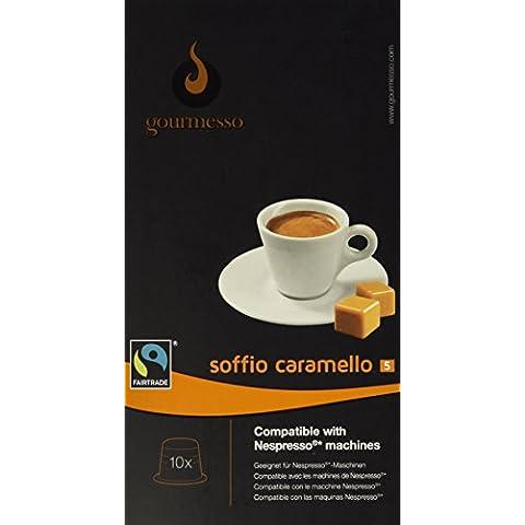 Gourmesso - cápsulas de café para cafetera Nespresso ® - 10 cápsulas de café compatibles (0,26 EUR/Cápsula) Soffio Caramello (Intensidad 5)