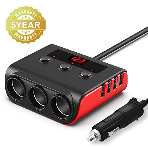 Auto Zigarettenanzünder Adapter, SONRU USB Auto Ladegerät mit 3 Fach Verteiler und 4 USB Ports, 100W 12V/24V KFZ Steckdose mit LED Voltmeter Getrennte Schalter für GPS Dash Cam iPhone Android