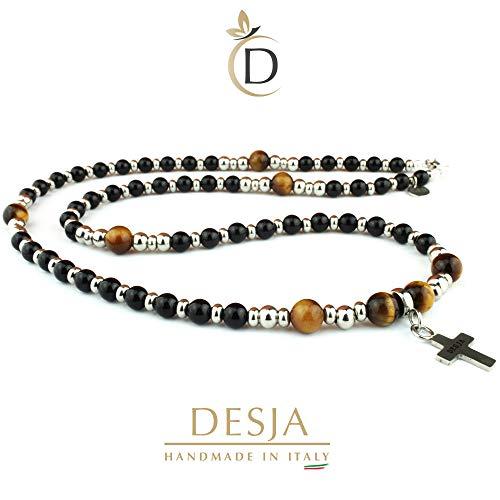 Collana uomo rosario con pietre dure naturali onice nero e occhio di tigre con croce pendente e distanziatori in acciaio inossidabile