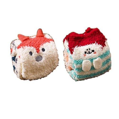 2 Paar Soft Fuzzy Schlafsocken Slipper Socken Warm Floor Socks Weihnachtsgeschenke, Fox & Kaninchen (Weiche Gestreifte Fuzzy-socken)