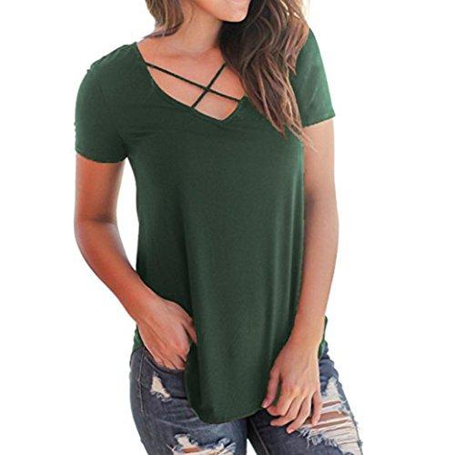 SOMESUN Damen T-Shirt V-Ausschnitt mit Schnürung Vorne Oberteil Tops Kurzarm Bluse Patchwork Sommer Kurzarm T-Shirt V-Ausschnitt mit Verband Tops (XL, Grün)