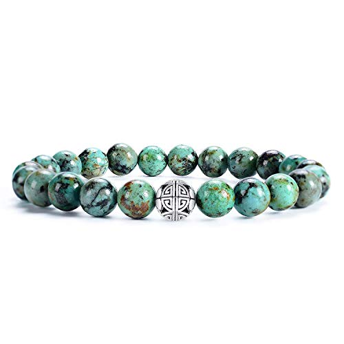 Natürliche 8 mm Edelsteine MetJakt Heilung Crystal Stretch Perlen Armband Armreif mit 925 Sterling Silber Double Happiness Anhänger (Afrikanischer Türkis AAA+) (Heilung Der Armreif)