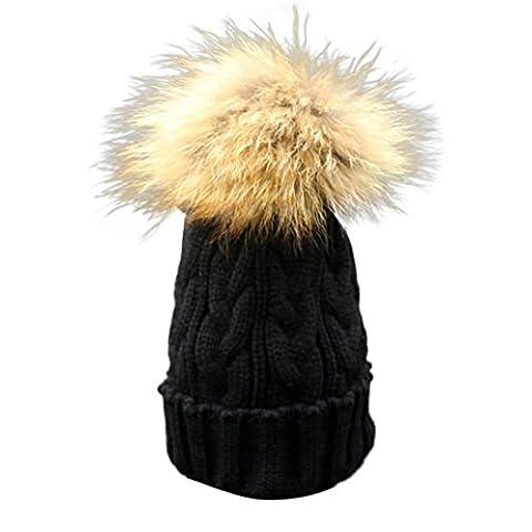 Longra Kleinkind Baby Winter Häkelarbeithut Pelz Wolle Strickmütze warme Mütze (Schwarz) (24 Satz Box)