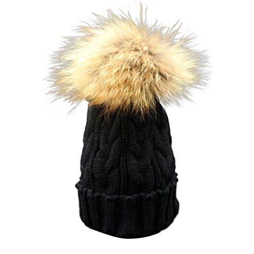 Longra Kleinkind Baby Winter Häkelarbeithut Pelz Wolle Strickmütze warme Mütze (Schwarz)