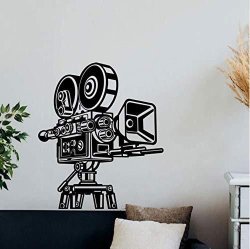 AIPIOR Retro Kamera Wandtattoo Kino Video Film Decor Vinyl Aufkleber Heimkino Wandkunst Haus Studio Tapete Wandbild 42x49cm