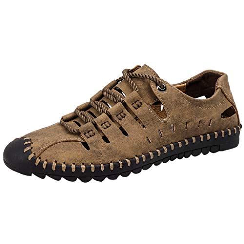 HHyyq Sommer Männer Casual Leder Sandalen Atmungsaktiv Trend Outdoor Strand Schuhe Schwimmen Schuhe Barfuß Schuhe Schnell Trocknende Fitness Schuhe Männer(Khaki,45 ()