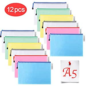 12x A4 Size Mesh Document Pocket Zip File Bag Makeup Student Office Accessories