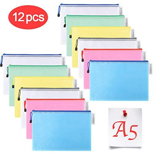Dokumententasche A5- Alohar 12 Stück Reißverschlusstasche PVC Zip Beutel Mesh Dokumententasche für Büros Schulbedarf Zubehör
