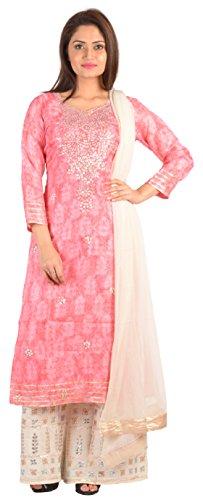 SAKSHI by JJS Women's Kota Silk Salwar Suit Set (TC-3008A--XXL, Peach, XX-Large)
