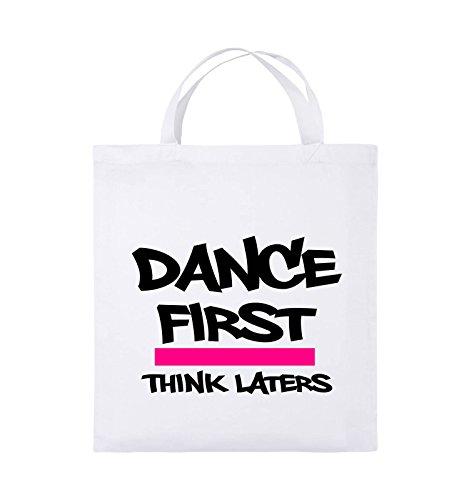 Comedy Bags - Dance first think laters - Jutebeutel - kurze Henkel - 38x42cm - Farbe: Schwarz / Weiss-Rot Weiss / Schwarz-Pink